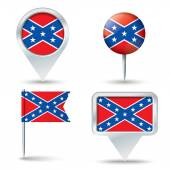 Map pins with Confederate flag — Stock Vector