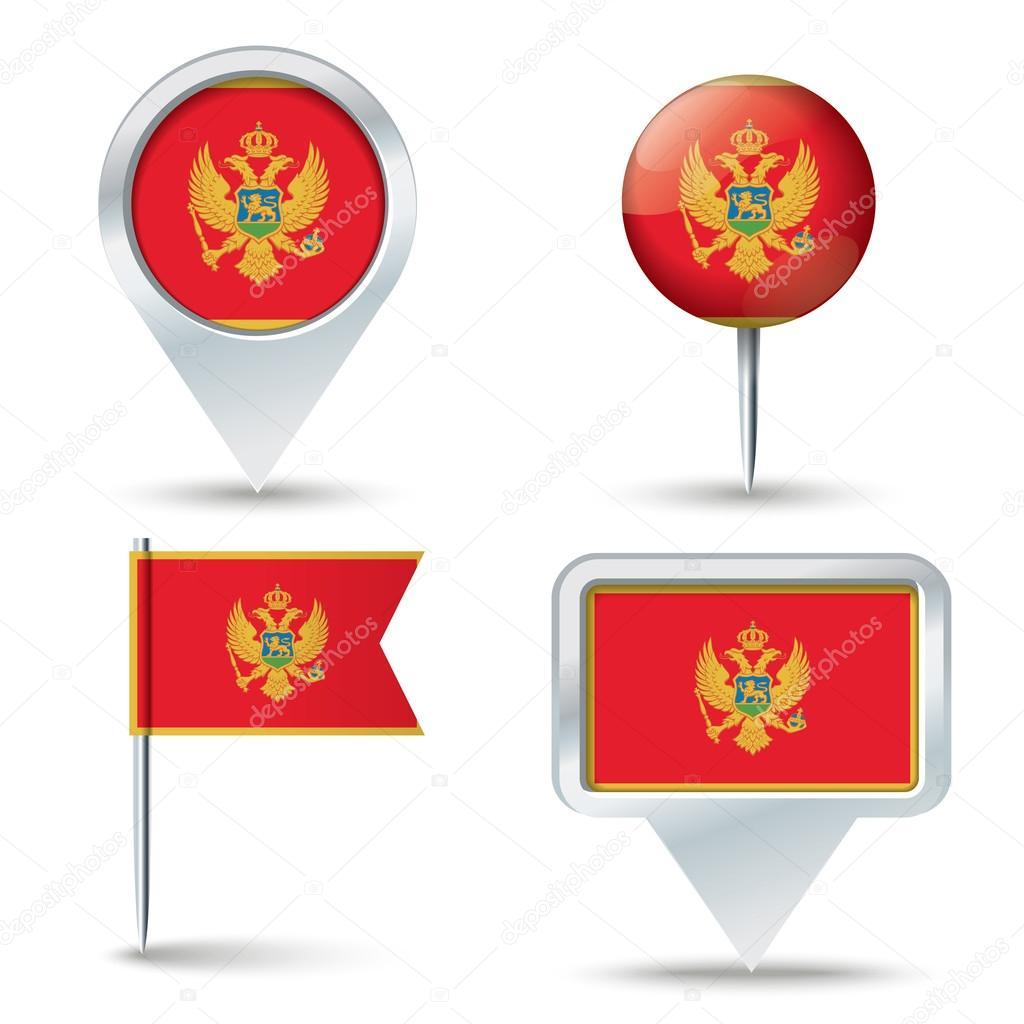 地图与黑山-矢量图国旗别针– 图库插图