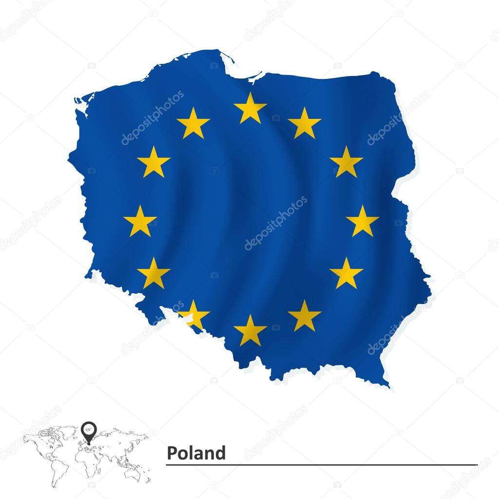 波兰与欧洲联盟标志-矢量图地图– 图库插图