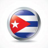 Cuba flag button — Stock Vector