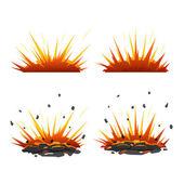 Set of cartoon explosions — Stock Vector