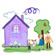 Kids sketch of happy family with house — Stock Vector #52430719