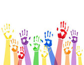 Horizontal background with colored paint hands — Vecteur