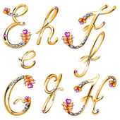 Bronze alphabet with colored gems letters E,F,G,H — Stock Vector