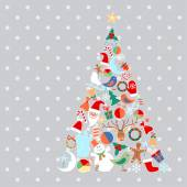 Vector Christmas tree with toys and objects — Stock Vector
