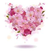 Cherry petal heart isolated on the white — Stockvector