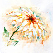 Watercolor background with lily flower — Stock Photo