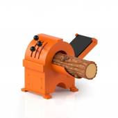 3d illustration. Wood processing, timber and machine on a white — Stock Photo