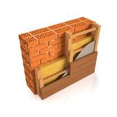 3 d イラスト。仕上げレンガ壁壁建設の人 — ストック写真