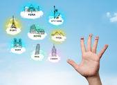 Vrolijke vinger smileys met bezienswaardigheden bezienswaardigheden pictogrammen — Stockfoto