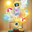 Tourist bag with colorful summer icons and symbols — Stock Photo #52503489