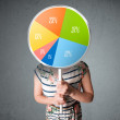 Young woman holding a pie chart — Stock Photo #52503539