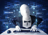 Man without identity programing in technology enviroment with cy — Stock Photo