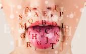 Beautiful girl lips breathing fonts and characters — Stock Photo