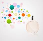 Pulvérisation de bouteille de parfum de couleur bulles — Photo