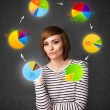 Young woman thinking with pie charts circulation around her head — Stock Photo #53428519