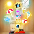 Tourist bag with colorful summer icons and symbols — Stock Photo #53428709