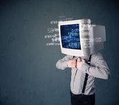 Mänskliga cyber monitor pc beräkning av datorn data koncept — Stockfoto