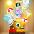 Tourist bag with colorful summer icons and symbols — Stock Photo #53869959