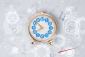 Modern clock with parts comming out — Stock Photo