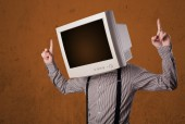用他的头和棕色空空间的显示器业务人 — 图库照片