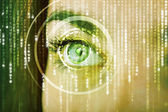 Modern cyber woman with matrix eye  — Stock Photo