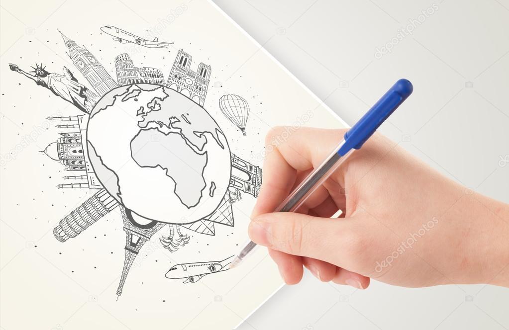 Dessin voyage de vacances autour de la terre avec des - Dessin de la main ...