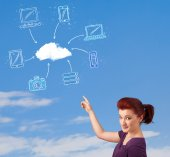 Casual girl looking at cloud computing concept on blue sky — Stock Photo
