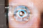 Futuristic modern cyber man with technology screen eye panel — Stock Photo