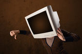 Girl with a monitor on her head and empty brown copyspace — Stock Photo