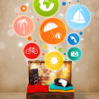 Suitcase with colorful summer icons and symbols — Stock Photo #55464205