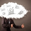 Elegant business man cloud head with hand drawn graphs — Stock Photo #55464703