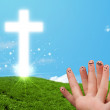 Happy finger smileys with christian religion cross — Stock Photo #55464837