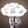 Elegant business man cloud head with hand drawn graphs — Stock Photo #56026707