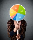 Young woman holding a pie chart — Stock Photo