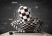Hacker without identity in futuristic enviroment hacking persona — Stock Photo