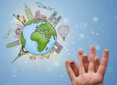 Veselá prst smajlíky s slavné památky světa — Stock fotografie
