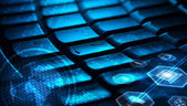 Keyboard with glowing multimedia icons — Stock Photo