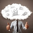 Elegant business man cloud head with hand drawn graphs — Stock Photo #56601833