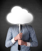 Businessman holding a cloud — Stock Photo