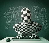 Hacker v morphsuit maska s viry a hackery myšlenky — Stock fotografie