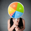 Young woman holding a pie chart — Stock Photo #57233683