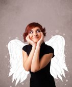 Girl with angel illustrated wings — Stock Photo