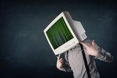 Cyber humana com um código de tela e computador monitor sobre a exibir — Foto Stock