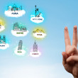 Cheerful finger smileys with sightseeing landmarks icons — Stock Photo #57784151