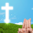 Happy finger smileys with christian religion cross — Stock Photo #57784369