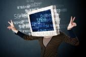 Insan cyber monitörü pc hesaplamak bilgisayar veri kavramı — Stok fotoğraf