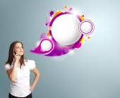 Pretty woman presenting abstract speech bubble copy space and ma — Stock Photo