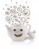 Coffee-pot with brown hand drawn happy smiley faces — Stock Photo