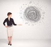 Kobieta młody biznes z bazgroły doodle mediów — Zdjęcie stockowe